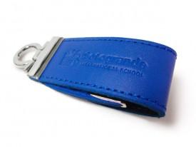 USB llavero de cuero azul personalizado