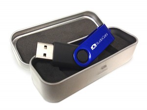 USB Revolving personalizado con caja metal thin