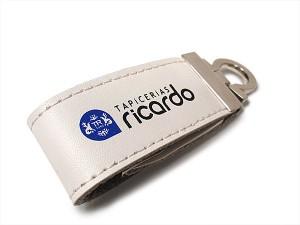 Memoria USB Llavero cuero blanco personalizado