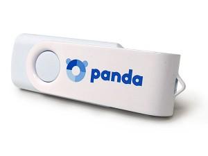 USB revolving blanco con carcasa blanca metálica personalizada con logo